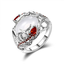 925 Silver Women Jewelry Huge Moonstone Ruby Wedding Engagement Ring Wholesale 8
