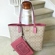 New Coach Signature Reversible City Tote Bag 36658 With Pouch Khaki Peony Multi