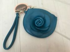 Floral Teal Round Flower Zipper Cosmetic Case Clip for Purse Wristlet Handle