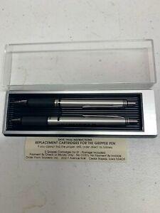 QUINSTAR Silver Tone Gripper Pen/Pencil Set w/box instructions for cartridges