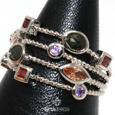 Sparkling Multi-color Topaz Rope Halo Ring Women Jewelry 14K White Gold Plated