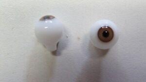 Yeux  poupée ancienne Marron  noisette 10mm   Hazel Brown   mouth blown eyes f