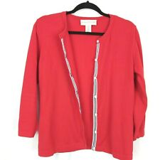 Evan Picone MED Red Cotton Blend Stretch Cardigan Sweater 3/4 Sleeve Ribbon Trim