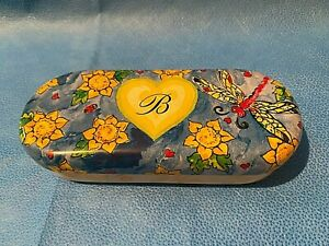 Brighton Sunglasses Floral and Dragonfly Design Metal Case