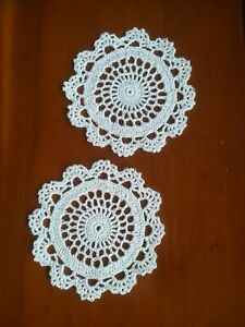 TWO Crochet Cotton Doilies / Coasters 11cm White Circle and Lace