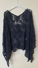 New Lagenlook Quirky Cotton CROCHET Poncho Oversized Layering Asymmetric Top