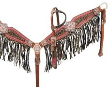 Showman Bejeweled Metallic LEOPARD Print Headstall & Fringe Breast Collar set!