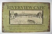 Riverview Cafe TIN SIGN vtg ad metal wall restaurant decor rustic river boat OHW
