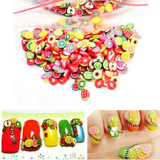 1000Pcs/Pack Womens 3D Fruit Feather Nail Art Patch Fimo DIY Armour Wrap Makeup