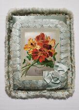 1885 Raphael Tuck & Sons Blue Satin Chromolithograph Birthday Card 3 cards in 1