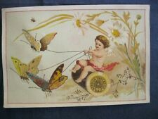 Victorian Trade Card Merrick Thread Garden Fairy Angel Bee Insect Butterfly 5A