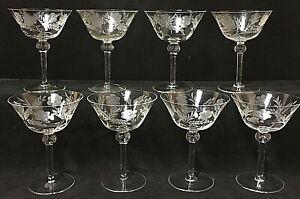 Vintage Etched Thin Crystal Champagne Sherbet Floral Stemware Glass Set Of 8