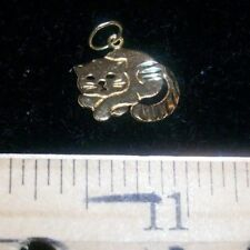 14K solid yellow gold CAT charm or pendant. bracelet kitty,feline