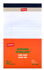 """Staples Perforated Notepad, Narrow Ruled, White, 5"""" x 8"""", 12/Pack"""
