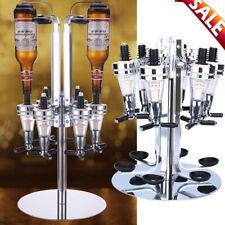 Rotary Wall Mounted 4 Bottle Stand Optic Dispenser Drinks Wine Steel Bar Butler