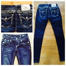 Buckle MISS ME Embellished Wings Skinny Dark Blue Wings Feather Stretch Jean 25
