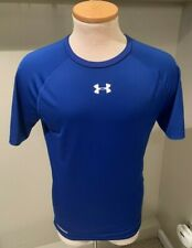 Under Armour Heat Gear Compression Blue Athletic T Shirt Size XL