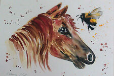 Horse & Bumble bee ORIGINAL watercolour painting Size A4  By Casimira Mostyn
