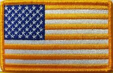 USA FLAG GOLD & BLUE COLORS Version Iron-On AMERICAN Patch Gold  Border