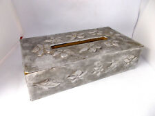Sculptured Silver Tin Covered Wood Tissue Box Floral Metalwork
