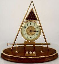 Antique Novelty Desk Clock in the form of a Billiards Set.  Circa 1900