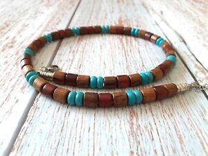 Natural Wood Men Necklace Sandal Wenge Brown Turquoise Blue Rondelle Beads