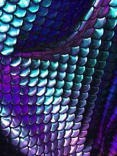 Stretch Mermaid Fish Scales Purple/turquoise Iridescent Foil Sold By Yard