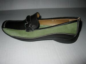 Sesto Meucci Womens Shoes Loafers Italian Leather and Black Green Size 9.5 S