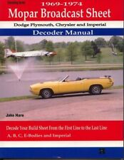 Codes Broadcast Build Sheet Decoder Guide Mopar Dodge Plymouth Chrysler Book Fits 1972 Charger