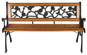 Wood & Cast Iron Garden Bench Backrest Patio Park Chair Loveseat Furniture