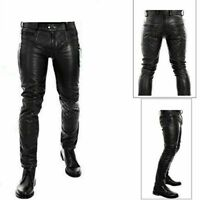 Men Genuine Leather Quilted Pant with Zipper Closure Real Leather Biker Pant
