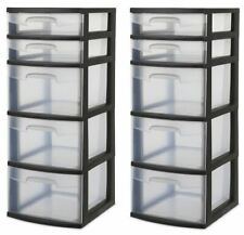 Plastic 5 Drawer Tower 2 x Sterilite Home or Office Storage Black