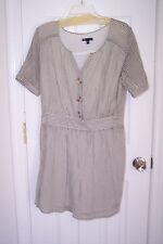 NEW Womens Gap Large White & Gray Stripe,Short Sleeve Dress