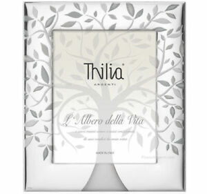 Cornice In Argento Thilia Albero Della Vita Foto 13 x 18 Retro In Mogano Bianco