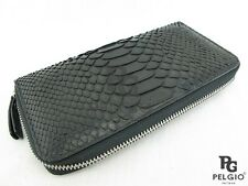 PELGIO Real Genuine Python Snake Skin Leater Zip Around Checkbook Wallet Black