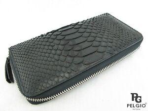 PELGIO Real Genuine Python Snake Skin Leather Zip Around Checkbook Wallet Black