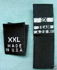 120 WOVEN LABELS, MADE IN U.S.A. XS, S, M, L, XL, XXL