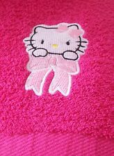 """PERSONALIZED EMBROIDERED HELLO KITTY SWIMMING/BATH TOWEL"" 100% COTTON"