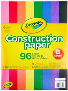"""Crayola Construction Paper 9"""" x 12"""" in 8 Classic Colors Total of 96 Sheets NEW"""