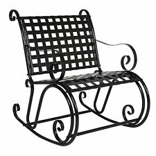 BCP Patio Iron Scroll Rocker Porch Rocking Chair Outdoor Seat Antique Black