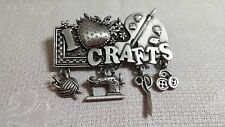 Vintage Spoontiques Pewter I Love Crafts Accessories Dangle Brooch Pin