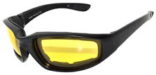 One Pair Padded Sunglasses Motorcycle Riding Glasses Black Yellow Night Driving