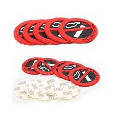Red Adhesive NO Smoking Sign Warning Logo Car Round Emblem Sticker Decal 2pcs