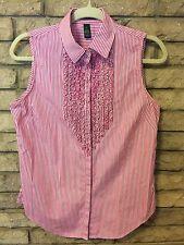 FAB RALPH LAUREN CRISP Pinstriped Pink Sleeveless Blouse Sz 8 TINY Ruffles