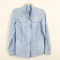 J MCLAUGHLIN Light Blue Button Front Lightweight Linen Jacket Size XS Pockets