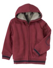 Crazy 8 Preppy Pirate Burgundy Sherpa Lined Jacket Hoodie Boys S 5-6 NEW NWT