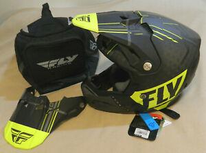 Fly Racing Formula Carbon Vector Helmet - Matte Hi-Viz/Grey/Black - Medium New