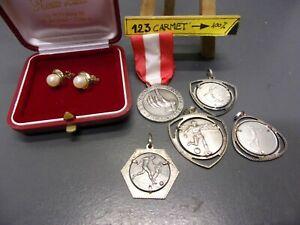 lotto vecchi orecchini oro con perle e n° 5 medaglie argento