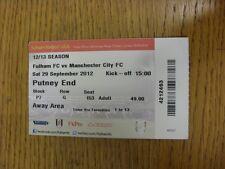 Billete De 29/09/2012: Fulham v Manchester City. gracias por ver este artículo, nosotros