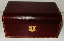 Antique English Red Leather Clad Jewelry Box with Tray